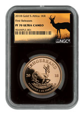 2018 South Africa 1 oz Gold Krugerrand Proof 1 Coin NGC PF70 UC FR Black Core Holder Exclusive Krugerrand Label
