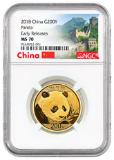 2018 China 15 g Gold Panda ¥200 Coin NGC MS70 ER Exclusive Great Wall Label