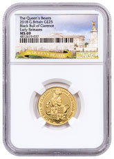 2018 Great Britain 1/4 oz Gold Queen's Beasts - The Black Bull of Clarence £25 Coin NGC MS69 ER Exclusive Queen's Beasts Label