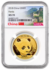 2018 China 30 g Gold Panda ¥500 Coin NGC MS70 Exclusive Great Wall Label