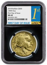 2018 1 oz Gold Buffalo $50 Coin NGC MS69 FDI Black Core Holder