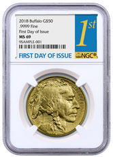 2018 1 oz Gold Buffalo $50 Coin NGC MS69 FDI