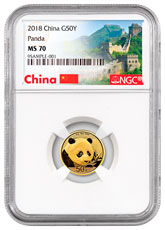 2018 China 3 g Gold Panda ¥50 Coin NGC MS70 Exclusive Great Wall Label