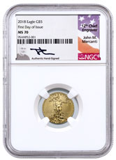 2018 1/10 oz Gold American Eagle $5 NGC MS70 FDI Mercanti Signed Label
