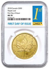 2018 Canada 1 oz Gold Maple Leaf $50 Coin NGC MS70 FDI