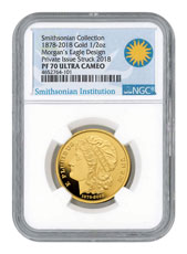 (2018) Smithsonian - 1878 Morgan Eagle Pattern Gold Proof Medal Scarce and Unique Coin Division NGC PF70 UC