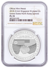 2018 Singapore United States - North Korea Summit 20 g Nickel-Plated Zinc Prooflike Medal NGC PL70 FR
