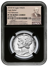 2018-W 1 oz High Relief Palladium Eagle Proof $25 Coin NGC PF70 FR Black Core Holder Adolph Weinman Label