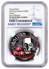 2018 Equatorial Guinea Crystal Skull - Vanity 1 oz Silver Colorized Proof Fr.1,000 Coin with Swarovski Crystal Skull NGC PF69 UC ER