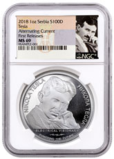 2018 Serbia Nikola Tesla - Alternating Current 1 oz Silver Coin NGC MS69 FR Tesla Label