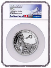 2018 Switzerland Shooting Festival Thaler - Winkelried 5 oz Silver Proof Fr.100 Coin NGC PF69 UC Exclusive Switzerland Label