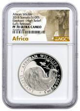 2018 Somalia 1 oz High Relief Silver Elephant Proof Sh100 Coin NGC PF70 UC ER Exclusive Elephant Label