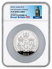 2018 Great Britain Four Generations of Royalty 5 oz Silver Proof £10 Coin NGC PF69 UC Exclusive Great Britain Label