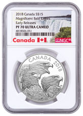 2018 Canada Magnificent Bald Eagles 1 oz Silver Proof $15 Coin NGC PF70 UC ER Exclusive Canada Label