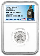2018 Great Britain Silver Penny The Royal Birth NGC GEM Unc FR