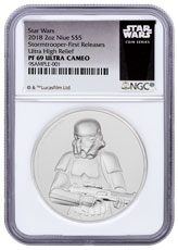 2018 Niue Star Wars Classic - Stormtrooper Ultra High Relief 2 oz Silver Proof $5 Coin NGC PF69 UC FR Exclusive Star Wars Label