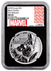 2018 Tuvalu Black Panther 1 oz Silver Marvel Series $1 Coin NGC MS69 FR Black Core Holder Exclusive Marvel Label
