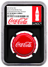 2018 Fiji Coca-Cola Bottle Cap-Shaped 6 g Silver Colorized Proof $1 Coin NGC PF70 UC FDI Black Core Holder Exclusive Coca-Cola Label