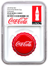 2018 Fiji Coca-Cola Bottle Cap-Shaped 6 g Silver Colorized Proof $1 Coin NGC PF69 Exclusive Coca-Cola Label