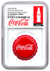 2018 Fiji Coca-Cola Bottle Cap-Shaped 6 g Silver Colorized Proof $1 Coin Scarce and Unique Coin Division NGC PF70 UC FDI Exclusive Coca-Cola Label
