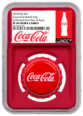 2018 Fiji Coca-Cola Bottle Cap-Shaped 6 g Silver Colorized Proof $1 Coin NGC PF69 UC FDI Red Core Holder Exclusive Coca-Cola Label