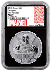 2018 Tuvalu Deadpool 1 oz Silver Marvel Series $1 Coin NGC MS69 FR Black Core Holder Marvel label