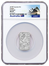 2018-P Australia 1 oz Silver Dragon $1 Bar NGC MS70 Exclusive Australia Label