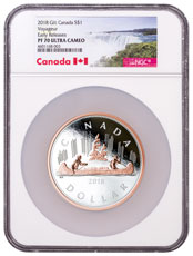 2018 Canada Big Coin Series - Voyageur Dollar 5 oz Silver Gilt Proof $1 Coin NGC PF70 UC ER Exclusive Canada Label