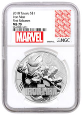 2018 Tuvalu Iron Man 1 oz Silver Marvel Series $1 Coin NGC MS70 FR Marvel label