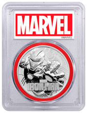 2018 Tuvalu Iron Man 1 oz Silver Marvel Series $1 Coin PCGS MS70 FS Red Gasket Marvel label