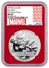 2018 Tuvalu Iron Man 1 oz Silver Marvel Series $1 Coin NGC MS69 One of First 589 Struck Red Core Holder Marvel label