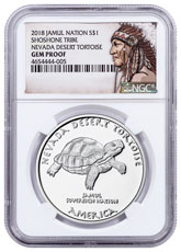 2018 Native American Silver Dollar - Nevada Shoshone - Desert Tortoise 1 oz Silver Proof Coin NGC GEM Proof Native American Label