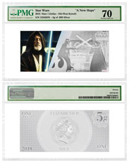 2018 Niue Star Wars: A New Hope - Obi-Wan Kenobi Foil Note 5 g Silver Colorized $1 Coin PMG Gem Unc 70