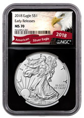 2018 American Silver Eagle NGC MS70 ER Black Core Holder Exclusive Eagle Label