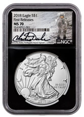 2018 American Silver Eagle NGC MS70 FR Black Core Holder Charlie Duke Signed label