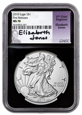 2018 $1 1 oz Silver American Eagle NGC MS70 FR Black Core Holder Jones Signed Label