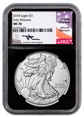 2018 American Silver Eagle NGC MS70 ER Black Core Holder Mercanti Signed Label