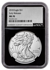 2018 American Silver Eagle NGC MS70 ER Black Core Holder Silver Foil Label