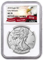 2018 American Silver Eagle NGC MS70 ER Exclusive Eagle Label