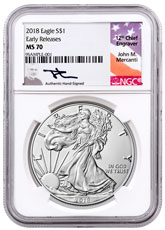 2018 American Silver Eagle NGC MS70 ER Mercanti Signed Label