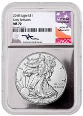 2018 American Silver Eagle NGC MS70 ER Silver Core Holder Mercanti Signed Label