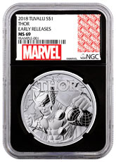 2018 Tuvalu Thor 1 oz Silver Marvel Series $1 Coin NGC MS69 ER Black Core Holder Exclusive Marvel Label