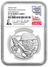 2018-P World War I Centennial Commemorative Silver Dollar Proof Coin NGC PF70 UC ER Everhart label