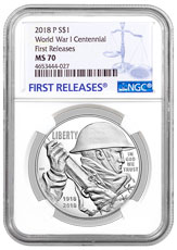 2018-P World War I Centennial Commemorative Silver Dollar Coin NGC MS70 FR