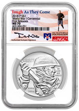 2018-P World War I Centennial Commemorative Silver Dollar Coin NGC MS70 FR Travis Mills Signed Label