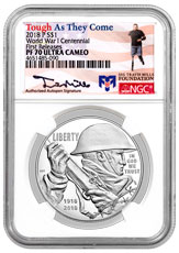 2018-P World War I Centennial Commemorative Silver Dollar Proof Coin NGC PF70 UC FR Travis Mills Signed Label