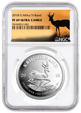 2018 South Africa 1 oz Silver Krugerrand Proof R1 Coin NGC PF69 UC Springbok Label