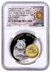 2018 China Philadelphia ANA World's Fair of Money Show Panda 1 oz Silver Proof Medal World Money Fair Releases NGC GEM Proof First Day Show Release World Money Fair Releases Label