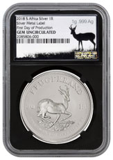 2018 South Africa 1 oz Silver Krugerrand R1 Coin Scarce and Unique Coin Division NGC GEM Unc First Day of Production Black Core Holder Silver Precious Metal Label