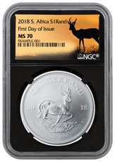 2018 South Africa 1 oz Silver Krugerrand R1 Coin NGC MS70 FDI Black Core Holder Springbok Label